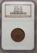 Two Cent Pieces: , 1865 2C MS61 Brown NGC. NGC Census: (40/1512). PCGS Population(5/484). Mintage: 13,640,000. Numismedia Wsl. Price for prob...