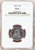 Proof Seated Quarters: , 1863 25C PR62 NGC. NGC Census: (12/90). PCGS Population (30/120).Mintage: 460. Numismedia Wsl. Price for problem free NGC/...