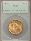 Indian Eagles: , 1932 $10 MS60 PCGS. PCGS Population (600/39305). NGC Census:(434/44543). Mintage: 4,463,000. Numismedia Wsl. Price for pro...