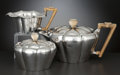 Silver Holloware, Continental:Holloware, A THREE-PIECE CONTINENTAL SILVER AND BONE TEA SERVICE . Maker unknown, circa 1925. Marks: W & C, 800. 4-3/4 inches high... (Total: 4 Items Items)