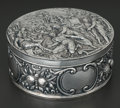Silver Holloware, Continental:Holloware, A CONTINENTAL SILVER ROUND REPOUSSÉ BOX . Simon Rosenau, BadKissingen, Germany, circa 1900. Marks: (crown over) SR,(cr...