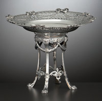 A GERMAN SILVER FOOTED RETICULATED DESSERT DISH Eugene Marcus, Germany, circa 1900 Marks: (crescent, crown), <