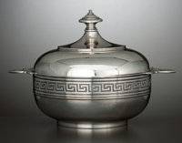 AN AMERICAN SILVER COVERED BUTTER DISH Tiffany & Co., New York, New York, circa 1856-1860 Marks: TIFFANY &
