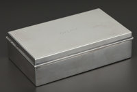 AN AMERICAN SILVER AND SILVER GILT BOX WITH WOOD LINING Tiffany & Co., New York, New York, circa 1936 Marks:
