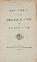 Books:Travels & Voyages, [Samuel Johnson]. A Journey to the Western Islands of Scotland. London: W. Strahan and T. Cadell, 1775. First editio...
