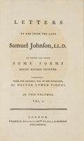 Books:Literature Pre-1900, Samuel Johnson. Letters To and From the Late Samuel Johnson.London: A. Strahan and T. Cadell, 1788. Two octavo volu... (Total:2 Items)