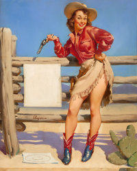 GIL ELVGREN (American, 1914-1980) Beat That!, 1953 Oil on canvas 30 x 24 in. Signed center lef