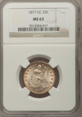 Seated Quarters: , 1877-CC 25C MS63 NGC. NGC Census: (88/140). PCGS Population(100/147). Mintage: 4,192,000. Numismedia Wsl. Price for proble...