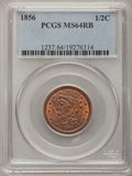 Half Cents, 1856 1/2 C MS64 Red and Brown PCGS. C-1, B-1, R.1....