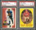 Football Cards:Lots, 1955 and 1958 Ollie Matson and Jack Christiansen Signed Cards Lot of 2....