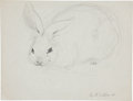 Miscellaneous, Garth Williams. Original preliminary drawings for illustrations inThe Rabbits' Wedding, 1958. Pencil on pap... (Total: 2Items)