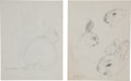 Miscellaneous, Garth Williams. Original preliminary drawings for illustrations in The Rabbits' Wedding, 1958. Pencil on pap... (Total: 2 Items)