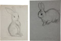 Miscellaneous, Garth Williams. Original preliminary drawings for illustrations inThe Rabbits' Wedding, 1958. Pencil on tra... (Total: 2Items)