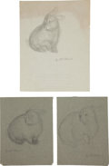Miscellaneous, Garth Williams. Original preliminary drawings for illustrations inThe Rabbits' Wedding, 1958. Pencil on pap... (Total: 3Items)