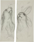 Miscellaneous, Garth Williams. Original preliminary drawings for illustrations inThe Rabbits' Wedding, 1958. Pencil on pap... (Total: 4Items)