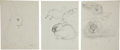 Miscellaneous, Garth Williams. Original preliminary drawings for illustrations inThe Rabbits' Wedding, 1958. Pencil on pap... (Total: 5Items)