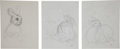 Miscellaneous, Garth Williams. Original preliminary drawings for illustrations inThe Rabbits' Wedding, 1958. Pencil on pap... (Total: 6Items)
