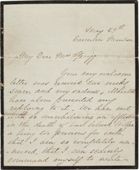 Mary Lincoln Autograph Letter Signed on Mourning Stationery