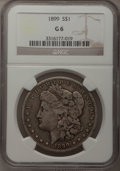 Morgan Dollars: , 1899 $1 Good 6 NGC. NGC Census: (4/7027). PCGS Population (3/9886).Mintage: 330,846. Numismedia Wsl. Price for problem fre...