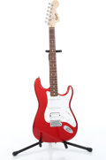 Musical Instruments:Electric Guitars, 2004 Squier Stratocaster Red Electric Guitar Serial# CY04077292....
