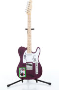 Musical Instruments:Electric Guitars, Un-named Telecaster Copy Purple Electric Guitar Autographed ByInxs....