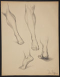 Antiques:Posters & Prints, Dan Viggiano. Original Pencil Study of Feet. [ca. 1970]. Mildtoning. Approximately 23 x 18. Very good....