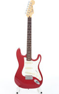 Musical Instruments:Electric Guitars, 1989 Fender Squier Stratocaster Red Electric Guitar Serial#S990655....
