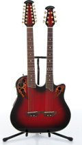 Musical Instruments:Acoustic Guitars, Ovation CSE225 Celebrity Deluxe Red Burst Double Neck Acoustic Electric Guitar....