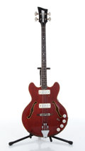 Musical Instruments:Bass Guitars, 1960s EKO Barracuda Red Electric Bass Guitar....