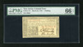 Colonial Notes:New Jersey, New Jersey March 25, 1776 1s PMG Gem Uncirculated 66EPQ. This NewJersey note, although common, is found in an unusually hig...