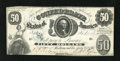 """Confederate Notes:1861 Issues, T8 $50 1861. The rubber-stamped blue """"C"""" stands for """"cancelled"""" on this note's face. This was also the first issue that had ..."""