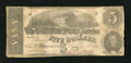 Confederate Notes:1862 Issues, T53 $5 1862. A moisture stain is noticed. Fine, CC....