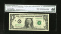 """Error Notes:Shifted Third Printing, Fr. 1911-I $1 1981 Federal Reserve Note. CGA Gem Uncirculated 66..This note is labeled """"Error-Shifted Overprint"""" due to the..."""