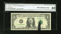 Error Notes:Ink Smears, Fr. 1910-A $1 1977A Federal Reserve Note. CGA Gem Uncirculated 65..A black ink smear runs from the bottom edge through the ...