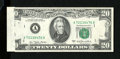 Error Notes:Obstruction Errors, Fr. 2072-A $20 1977 Federal Reserve Note. Choice CrispUncirculated.. An obstruction interfered with the far left-handside ...