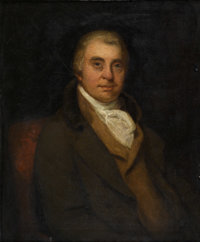 Attributed to JOHN OPIE (British, 1761-1807) Portrait of W. Vokins, Esq., of Edmonton, Middlesex Oil on canvas Label