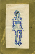 Texas:Early Texas Art - Impressionists, JOSEPHINE MAHAFFEY (American, 1903-1982). Untitled portrait.Watercolor and pen on paper, mounted on the back of a card. 8in...
