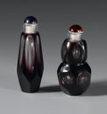 Other, PAIR OF CHINESE SNUFF BOTTLES. Pair of Chinese glass snuff bottles, of various shape and size. With purple cut to clear fa... (Total: 2 Item)