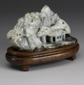 Asian:Chinese, CHINESE CARVED JADE/HARDSTONE MOUNTAIN. Chinese carvedjade/hardstone mountain depicting a large peach tree, pavilion and...