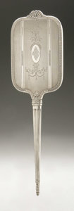 Other:American, AN AMERICAN SILVER HAND MIRROR AND BRUSH. International Silver Co.,Meriden, CT, Early Twentieth Century. Monogram to the ...