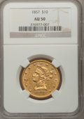 Liberty Eagles: , 1857 $10 AU50 NGC. NGC Census: (18/64). PCGS Population (22/14).Mintage: 16,606. Numismedia Wsl. Price for problem free NG...