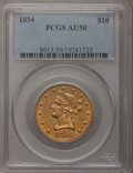 Liberty Eagles: , 1854 $10 AU50 PCGS. PCGS Population (21/38). NGC Census: (23/150).Mintage: 54,250. Numismedia Wsl. Price for problem free ...