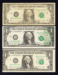 Error Notes:Error Group Lots, Three $1 Federal Reserve Note Errors.. ... (Total: 3 notes)