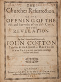 Books:Religion & Theology, John Cotton. The Churches Resurrection, or the Opening of theFift and Sixt Verses of the 20th Chap. of the Revelation....