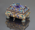 Silver Holloware, Continental:Holloware, A RUSSIAN SILVER GILT PLIQUE-A-JOUR ENAMEL COVERED BOX . IvanKhlebnikov, Moscow, Russian, circa 1888. Assay master Viktor S...