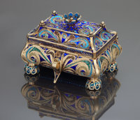A RUSSIAN SILVER GILT PLIQUE-A-JOUR ENAMEL COVERED BOX Ivan Khlebnikov, Moscow, Russian, circa 1888 Assay mast