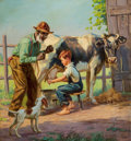 Mainstream Illustration, HY (HENRY) HINTERMEISTER (American, 1897-1972). Rooting HimOn!. Oil on canvas. 26 x 24 in.. Signed lower right.Fro...
