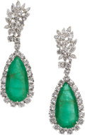 Estate Jewelry:Earrings, Emerald, Diamond, Platinum, Gold Convertible Earrings. ... (Total:2 Items)