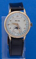 Timepieces:Wristwatch, LeCoultre Gold Filled Moon Phase Calendar Wristwatch. ...