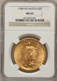 1908 $20 No Motto MS63 NGC Details. NGC Census: (43303/44748). PCGS Population (31281/50694). Mintage: 4,271,551. Numism...